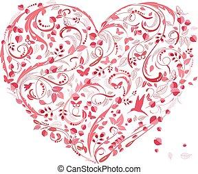 encantador, floral, coração, para, seu, desenho