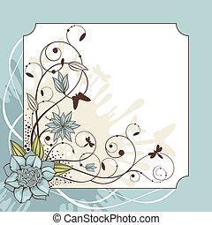 encantador, floral, quadro, vetorial, ilustração
