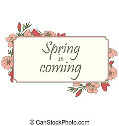 encantador, ilustração, de, a, florescer, apple-tree., primavera, é, coming.