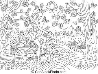 encantador, menina, é, montando, uma bicicleta, em, floresta, paisagem, para, seu, co