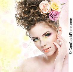 encantador, menina jovem, com, flores, tocar, dela, face bonita