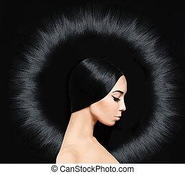 encantador, morena, mujer, con, largo, brillante, hairstyle., salón del pelo, plano de fondo