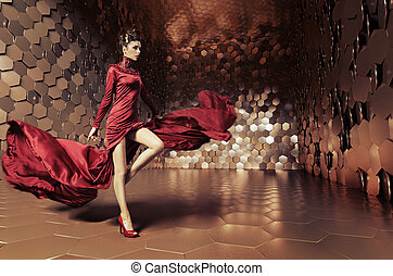 encantador, mujer, con, ondulado, vestido