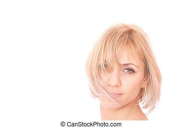 encantador, mujer joven, portrait.