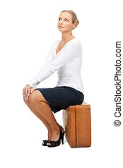 encantador, mujer, maleta