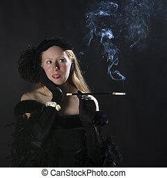 encantador, mujer, noir, fumar cigarrillo, 1940s, película