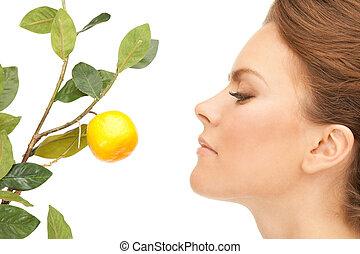 encantador, mujer, ramita, limón