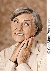 encantador, mulher, idoso