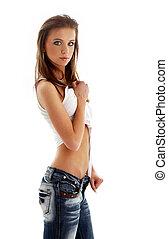 encantador, niña, en, jeans, y, camisa blanca, #2