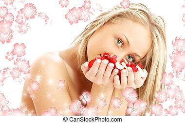 encantador, pétalos, rubio, #2, balneario, flores blancas, ...