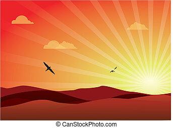 encantador, pôr do sol