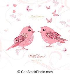 encantador, pareja, aves, con, mariposas, para, su, diseño