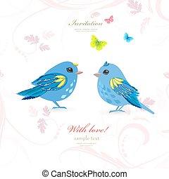 encantador, pareja, aves, para, su, diseño