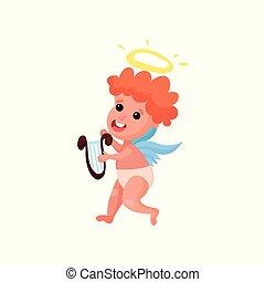 encantador, ruivo, anjinho, menino, toque música, ligado, a, lyre, caricatura, vetorial, ilustração