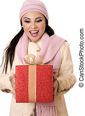 encantador, surpresa, -, femininas, segurando, um, grande, vermelho, e, ouro, presente
