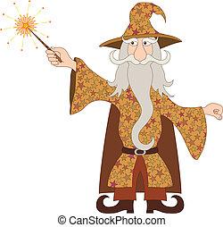 encanto mágico, mago, bastidor, varita