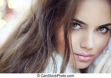 encanto, moda, mujer, portrait., maquillaje, y, hair.