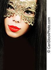 encanto, morena, mujer, en, dorado, máscara del carnaval