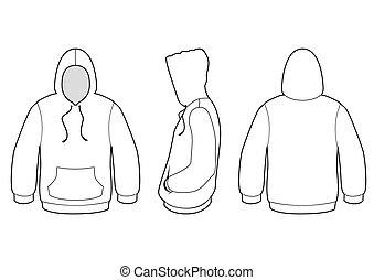 encapuchado, suéter, vector, illustration.