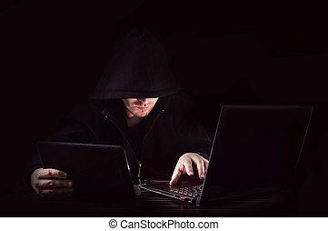 encapuchonné, attaque, pirate informatique, cyber, ...