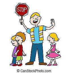 encargado de ayudar a cruzar a escolares, y, niños,...