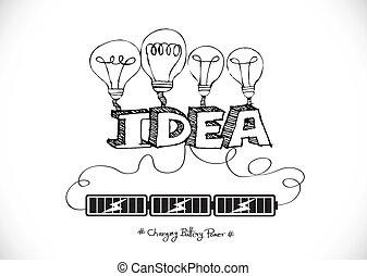 encarregando, poder, bateria, bulbo, luz