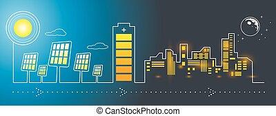 encarregando, solar, cidade, painéis, energia