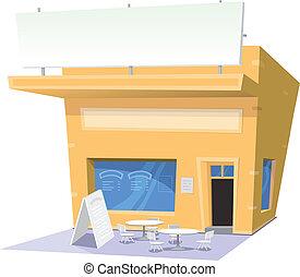 encas, dessin animé, restaurant