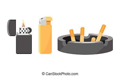 encendedor, vector, cabo, cenicero, conjunto, cigarrillo, cigarro