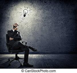 encender, idea, -, pensamiento, de, empresa / negocio