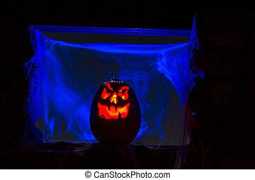 encendió la vela, calabazas, halloween
