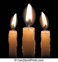 encendió velas, tres