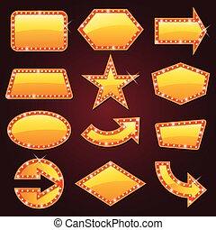encendido, brillantemente, cine, señal, dorado, retro, neón