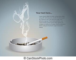 encendido, cigarrillo, cenicero