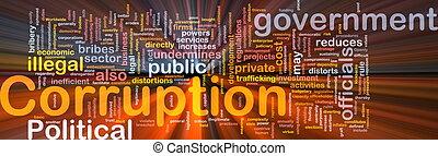 encendido, concepto, corrupción, plano de fondo