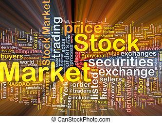 encendido, concepto, mercado, plano de fondo, acción