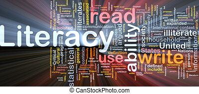 encendido, concepto, plano de fondo, alfabetismo