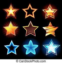 encendido, conjunto, estrellas