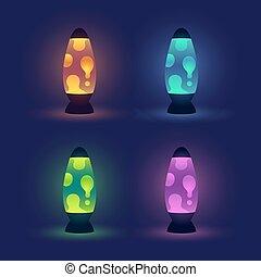 encendido, conjunto, lámparas, lava
