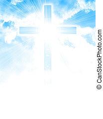 encendido, cruz, en, cielo