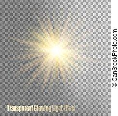 encendido, efecto, luz