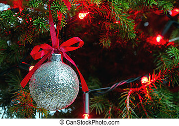 encendido, espacio, árbol, ornamento, plano de fondo, copia...