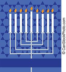 encendido, feriado, menorah, hanukkah;
