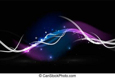encendido, fluir, ondas, y, estrellas, en, oscuridad,...