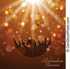 encendido, kareem, ramadan, tarjeta, celebración