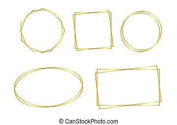 encendido, magia, vector, dorado, marco, luces, rectángulo, illustrtaion., frame., effects., acción, banner.