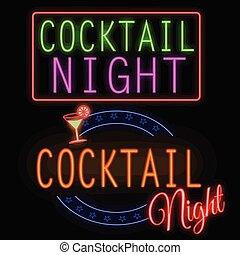 encendido, noche, neón, cóctel, señal