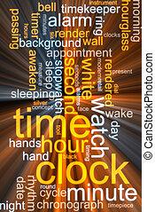 encendido, palabra, nube, reloj