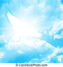 encendido, paloma, en, un, cielo azul