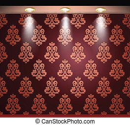 encendido, pared, lamp., seamless, vector, rojo